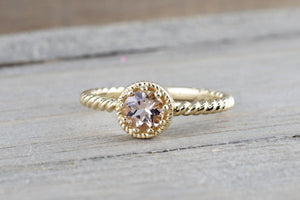 Sunset 14k Yellow Gold Round 5mm Morganite Peach Champagne Beige Milgrain Halo Rope Band Engagement Ring Crown Vintage Solitaire