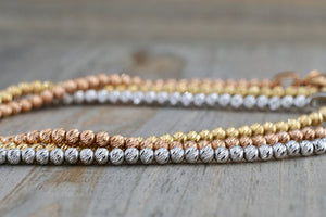 14k Rose Gold Bead Ball Diamond Cut Bracelet Dainty Love Gift Fashion - Brilliant Facets