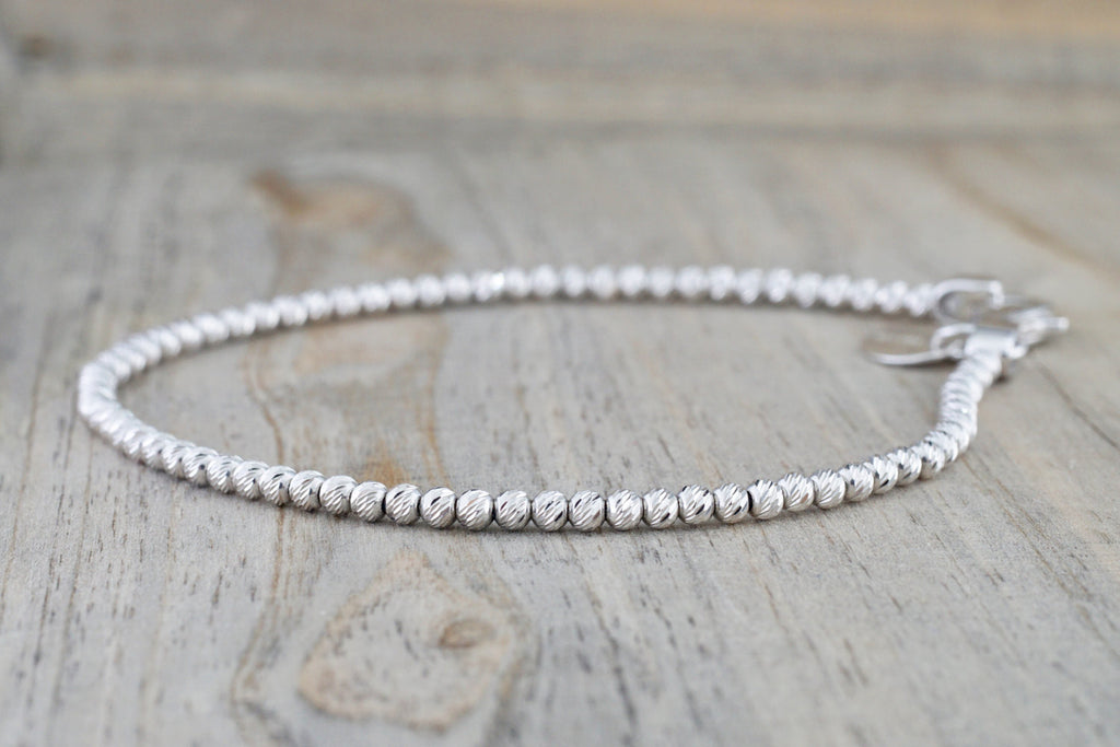 14k White Gold Bead Ball Diamond Cut Bracelet Dainty Love Gift Fashion - Brilliant Facets