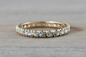 14k Yellow Gold Aquamarine Full Eternity Band Wedding Anniversary Engagement Promise Stackable Ring