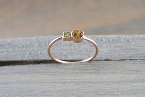 14k Rose Gold Citrine and Peridot Ring Dainty Band Bezel Mothers Birthstone Gemstone Stackable - Brilliant Facets