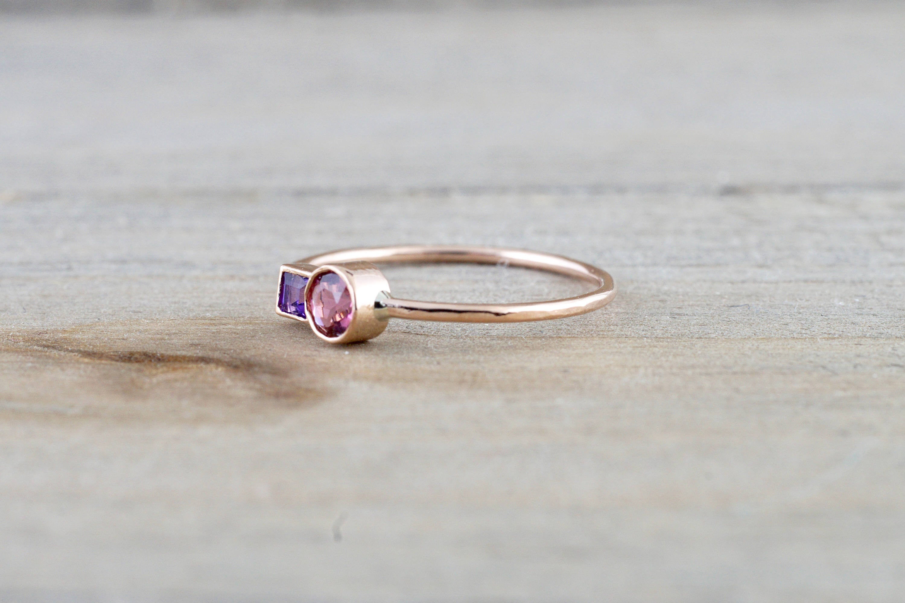 14k Rose Gold Pink Tourmaline Amethyst Ring Band Bezel Mothers Birthstone Gemstone Ring - Brilliant Facets