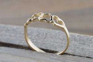 14k Yellow Gold 4 Open Heart Love Anniversary Promise Ring Band