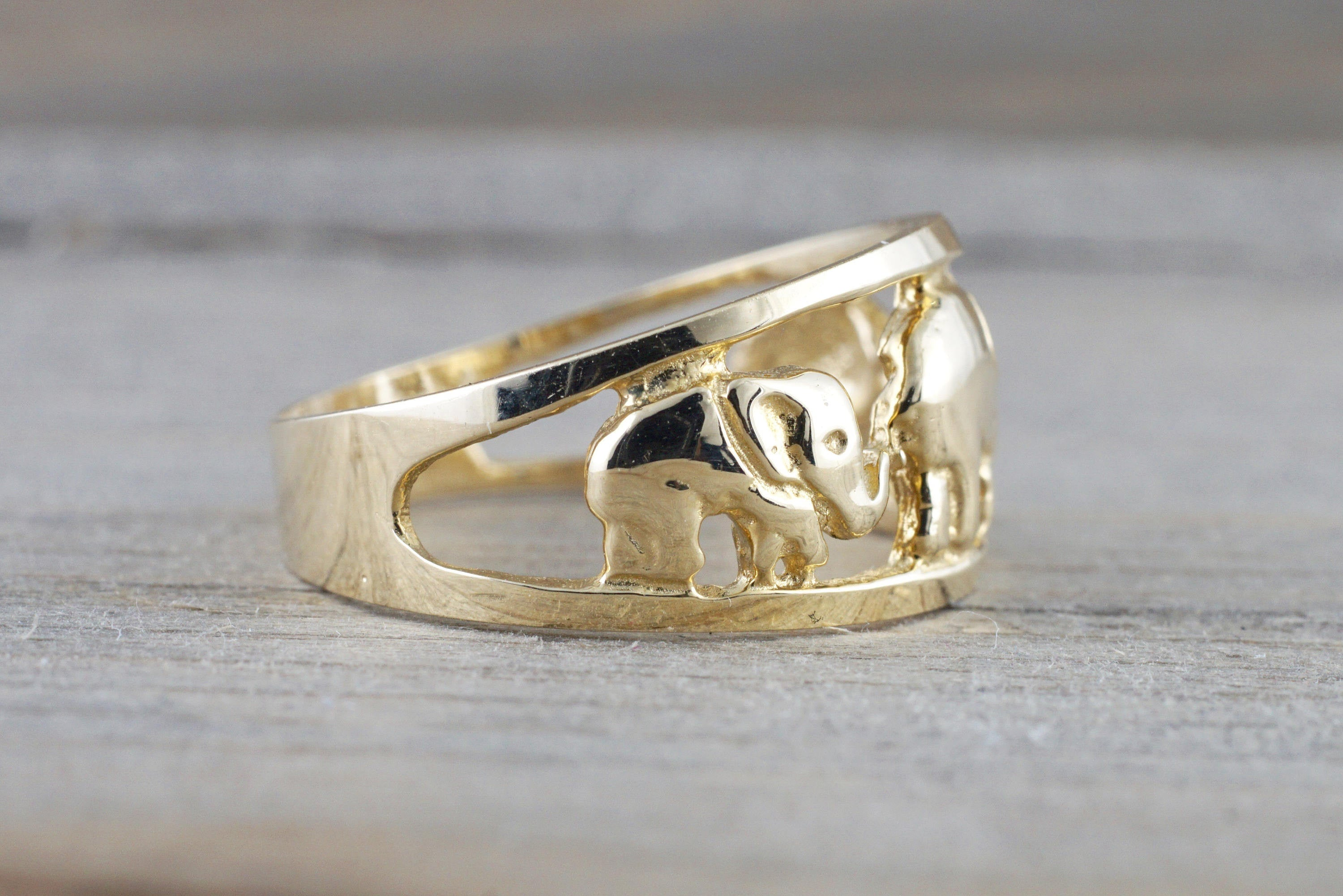 14k Yellow Gold Elephant Lucky Open Anniversary Promise Fashion Ring Band