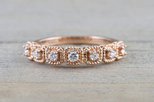 14k Rose Gold Diamond Cushion Rope Halo Anniversary Promise Engagement Band Ring Wedding - Brilliant Facets
