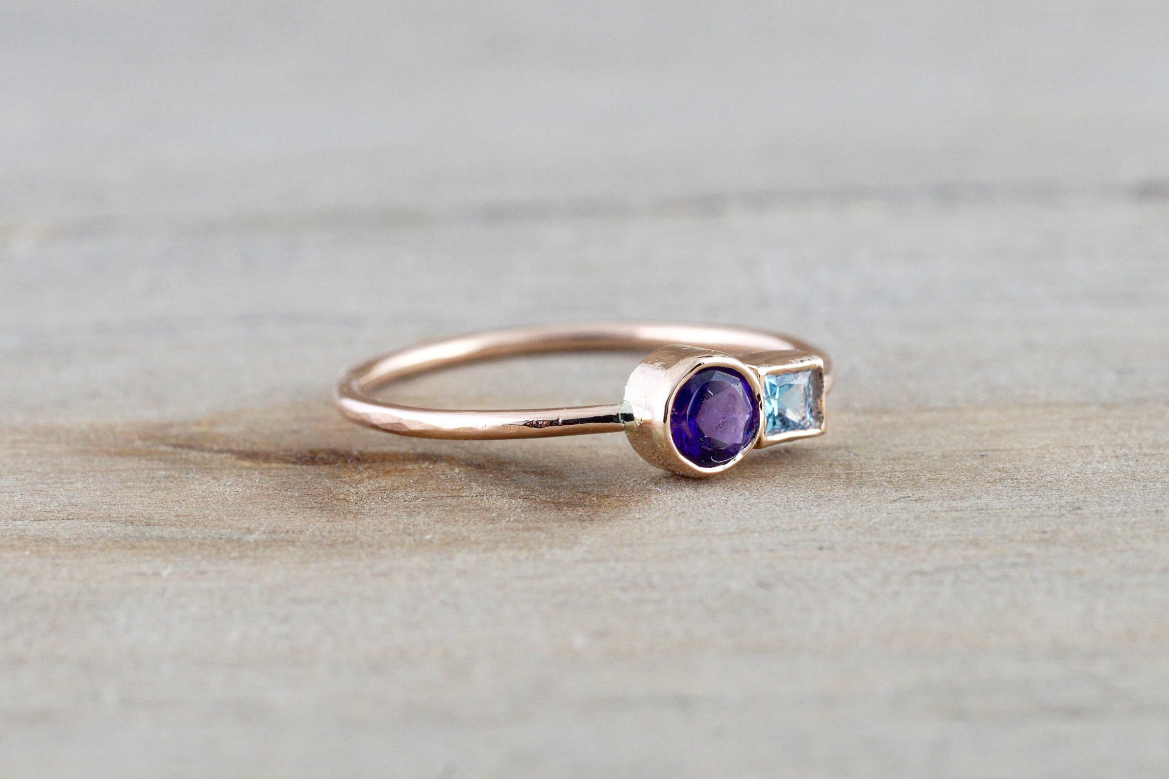 14k Rose Gold Amethyst and Blue Topaz Ring Dainty Band Bezel Mothers Birthstone Gemstone Stackable - Brilliant Facets