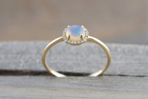 14k Yellow Gold Round Opal Diamond Halo Engagement Promise Ring Anniversary Promise Wedding Love Design