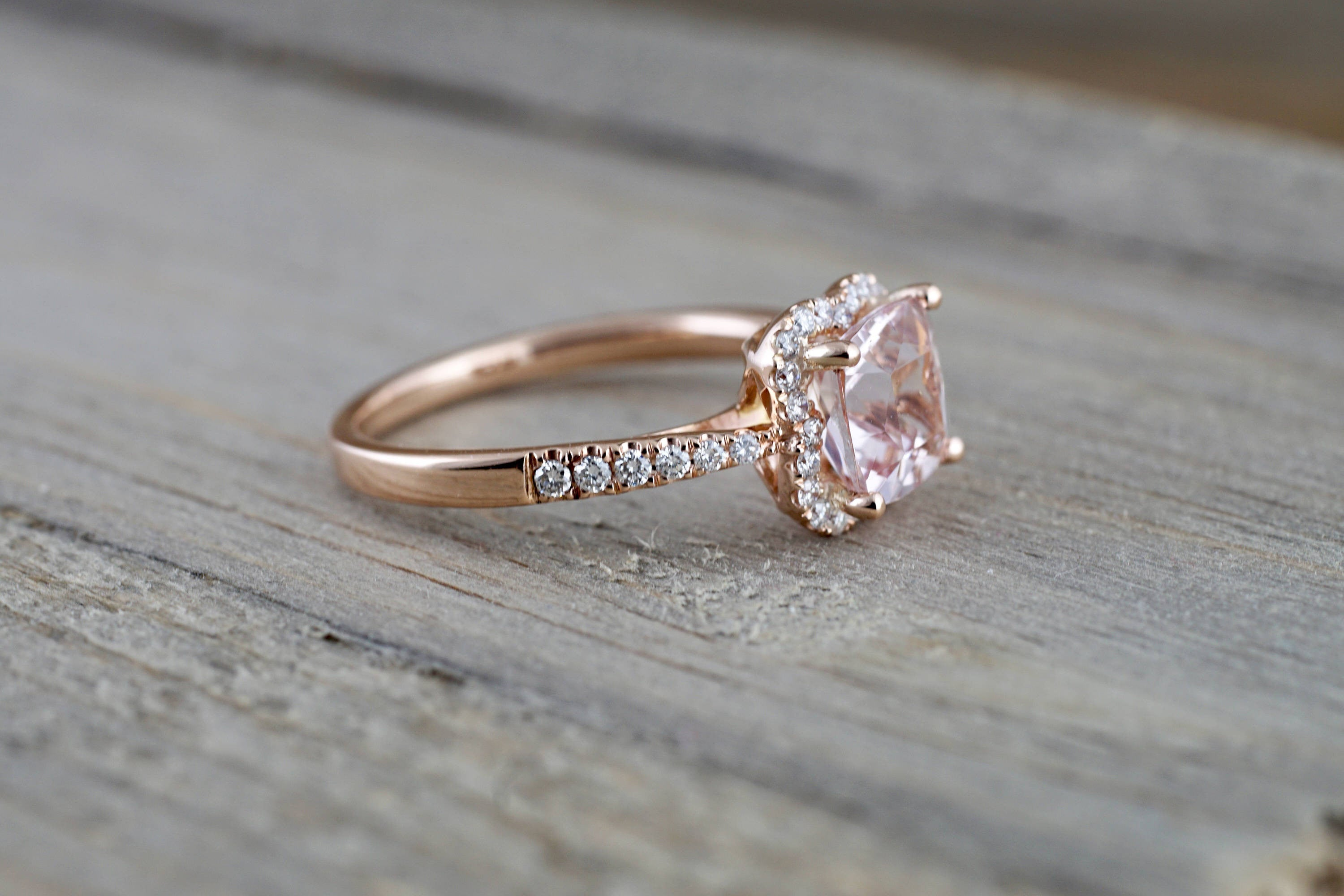 rose ring oval gold rings morganite and wedding cluster diamond