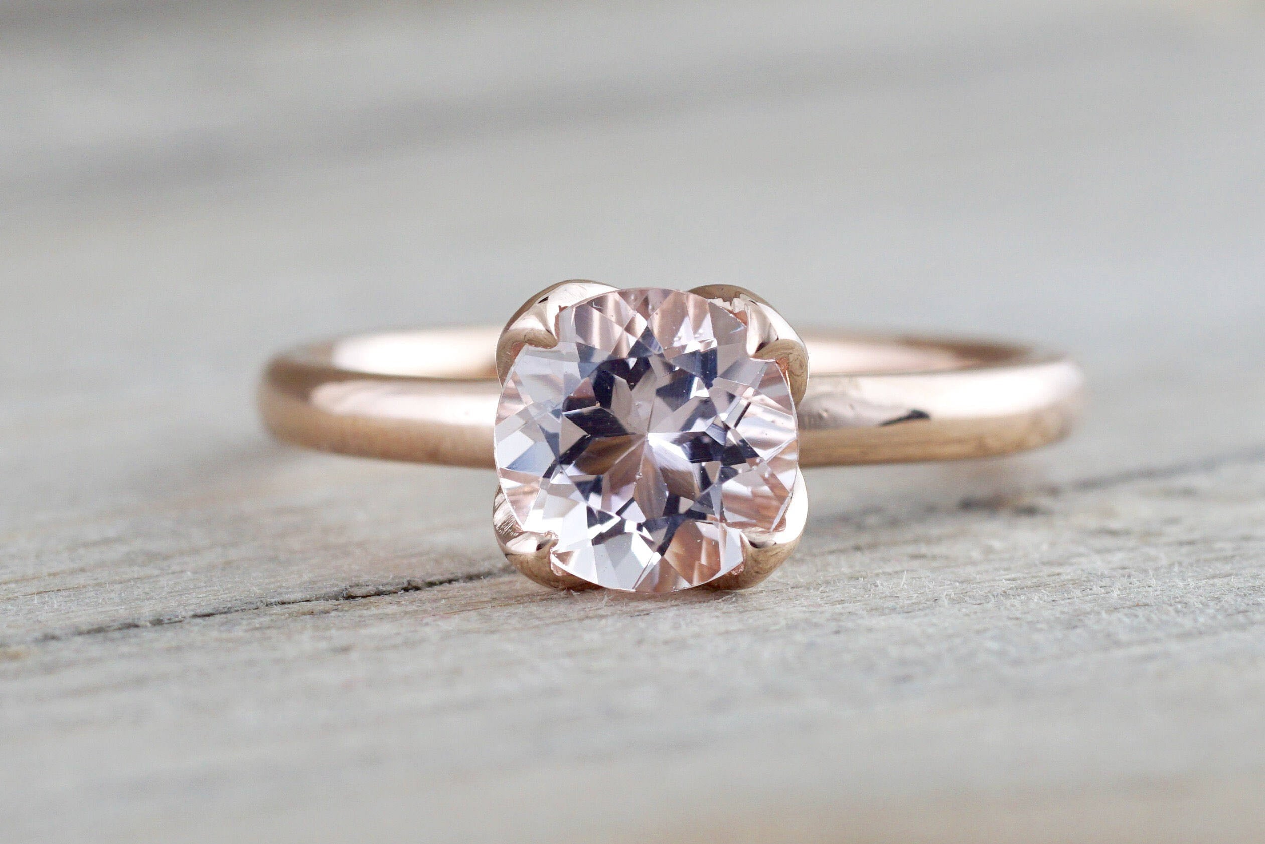 14k Rose Gold Round Morganite Pink Classic flower petal Solitaire Engagement Ring - Brilliant Facets