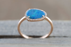 Island 14k Rose Gold Opal Diamond Halo Art Deco Fashion Ring Band