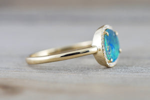 Island 14k Yellow Gold Diamond Halo Opal Art Deco Fashion Ring Band