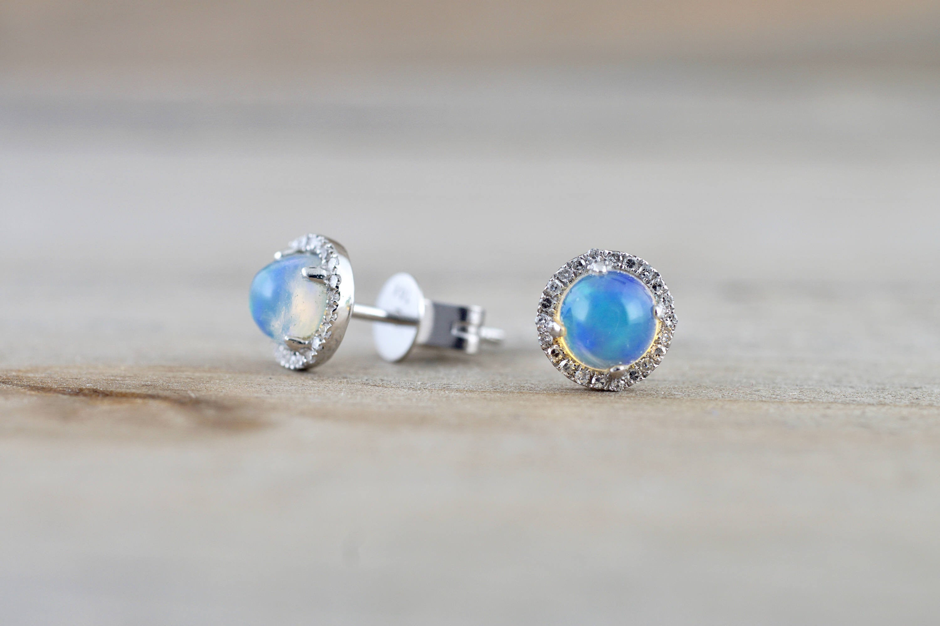 14k White Gold Round Opal Diamond Halo Earrings Studs
