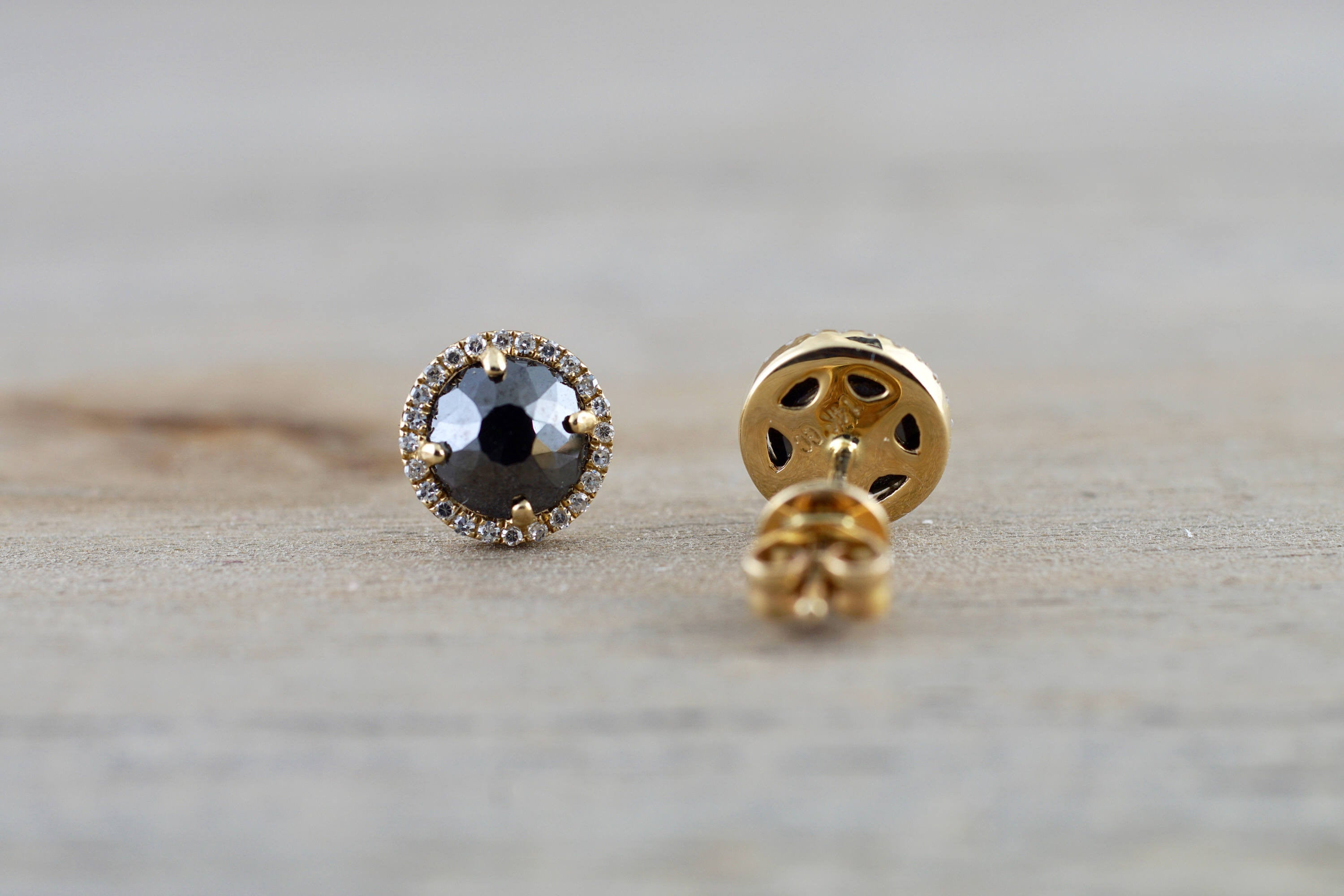 14k Yellow Gold Rose Cut Black Diamond Round Halo Earring Stud
