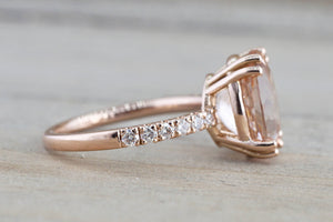 14k Rose Gold Elongated Oval Cut Pink Morganite Diamond Engagement Ring - Brilliant Facets