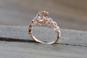 14k Rose Gold Elongated Oval Cut Morganite Diamond Infinity Twist Engagement Ring - Brilliant Facets