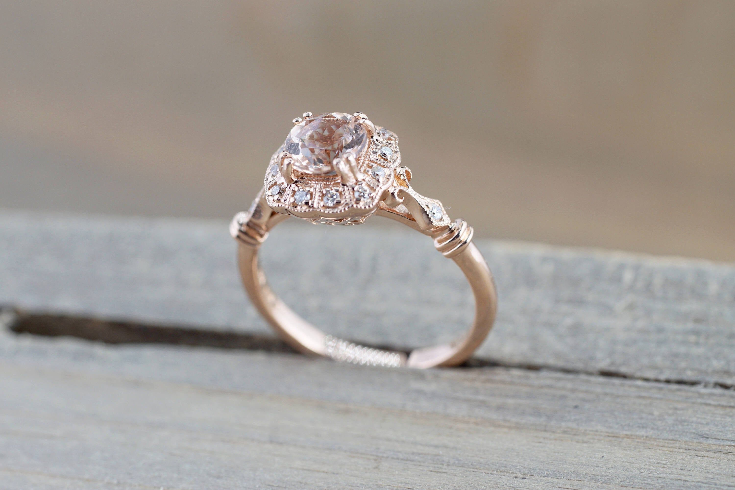 14k Rose Gold Vintage Diamond Morganite Engagement Promise Ring Rope Bead Vintage Art Deco - Brilliant Facets