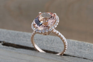 5.64 carats 14k Rose Gold Oval Cut Pink Peach Morganite Diamond Halo Engagement Promise Ring Rope Bead Vintage