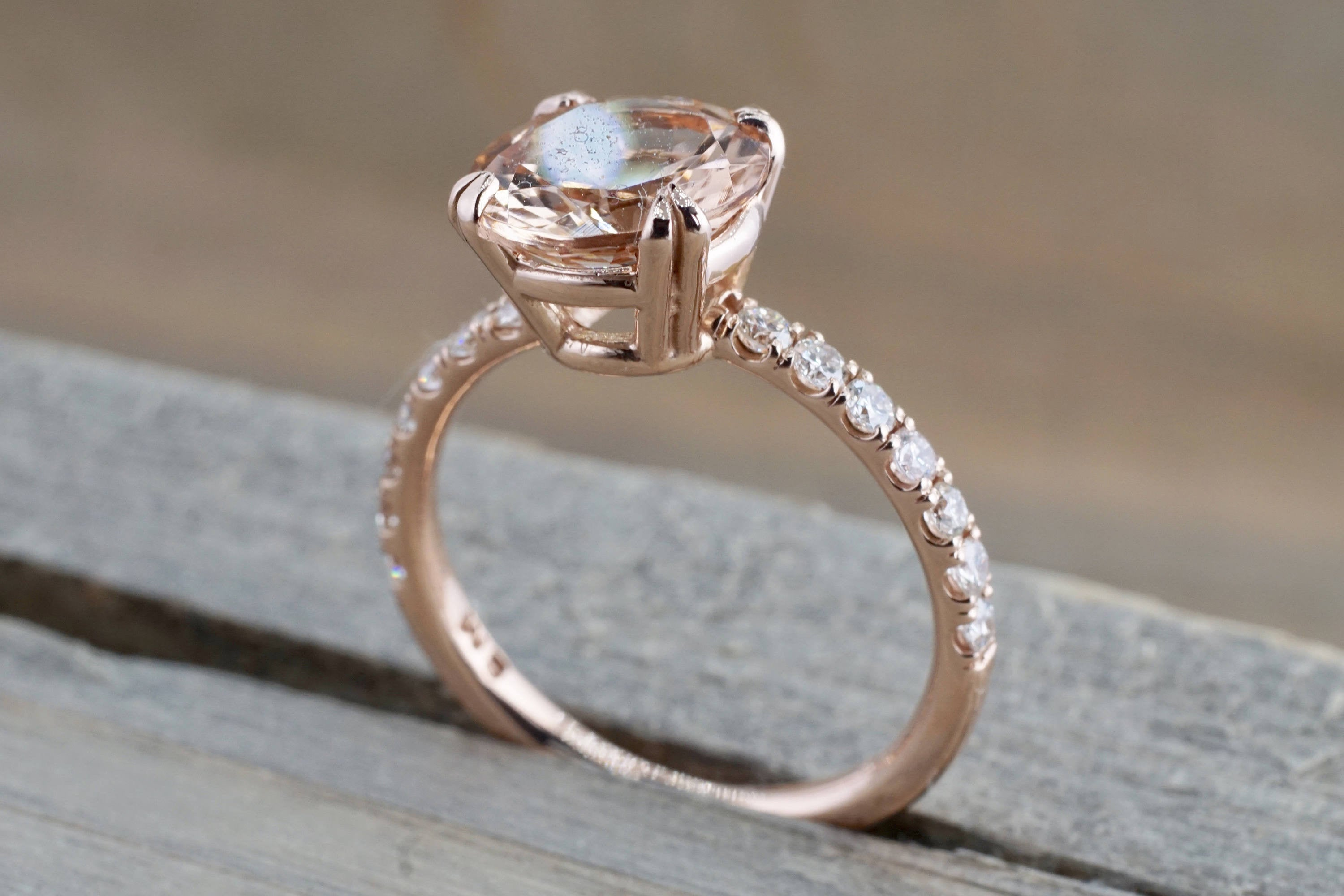 14k Rose Gold Diamond Round Pink Morganite Solitaire Engagement Ring 9mm - Brilliant Facets