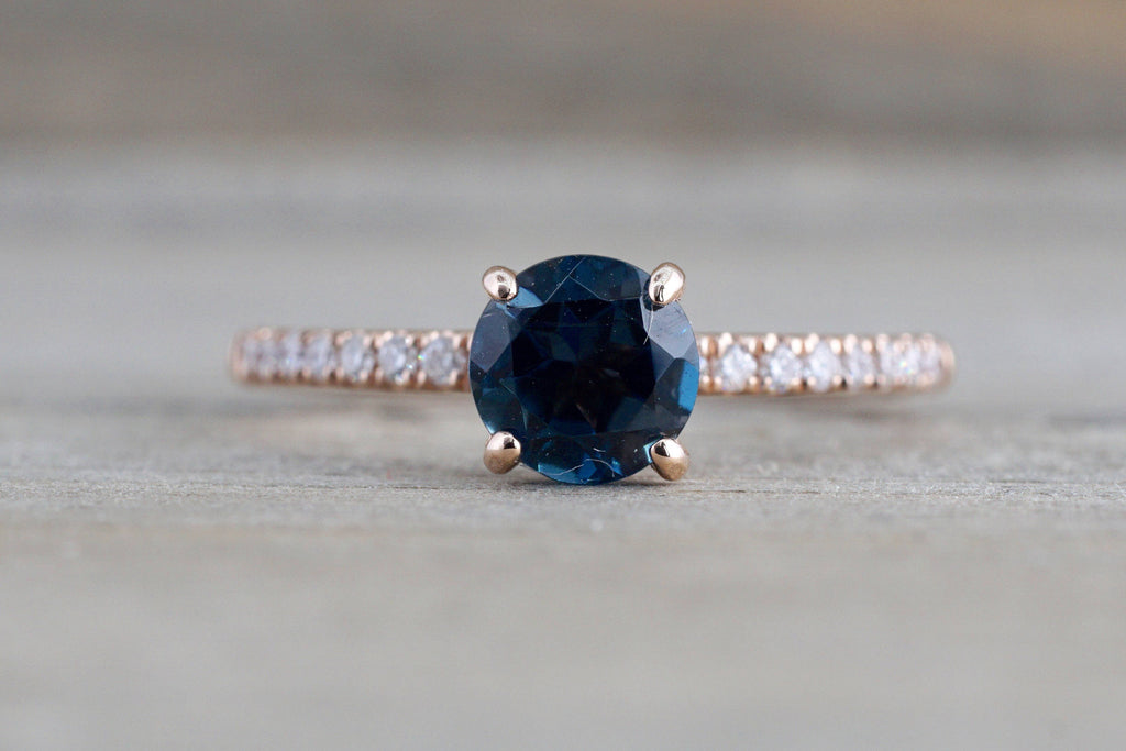 14k Rose Gold Dainty Round London Blue Topaz Under Halo Ring - Brilliant Facets