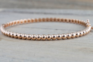 14k Solid Rose Gold Thick Bead Dot Charm Bracelet Dainty Love Oval Fashion Bangle 3.2mm Open - Brilliant Facets