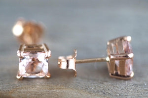 14k Solid Rose Gold Cushion Cut Pink Peach Morganite Earring Studs Screw Back Square Post Stud - Brilliant Facets