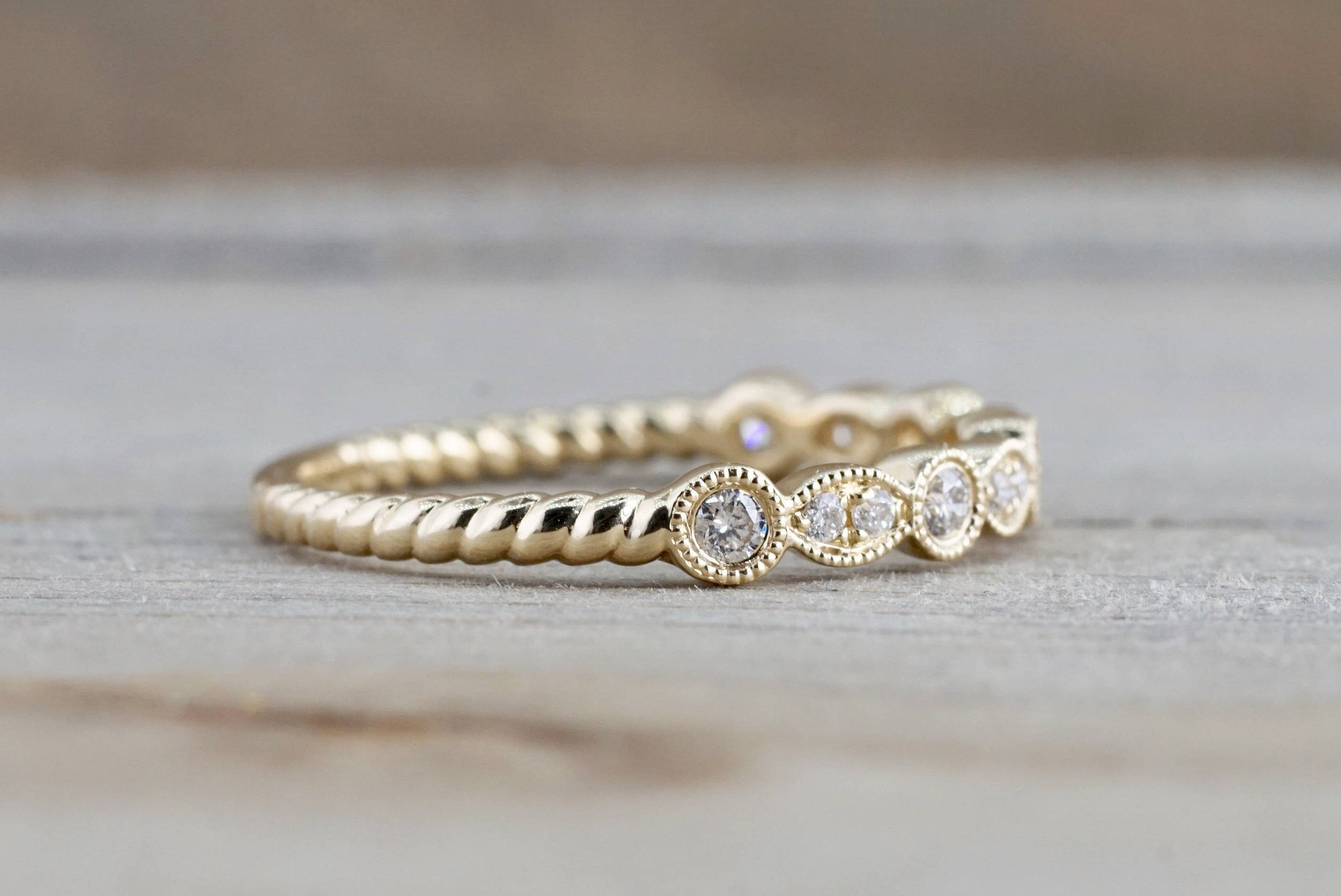 14k Yellow Gold Round Cut Diamond Rope Twined Vine Pave Stackable Stacking Art Deco Band Ring