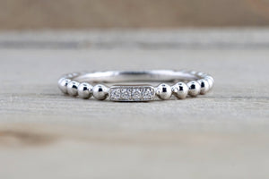 14k White Gold Round Cut Diamond Bead Stackable Stacking Promise Ring Anniversary Space Bar