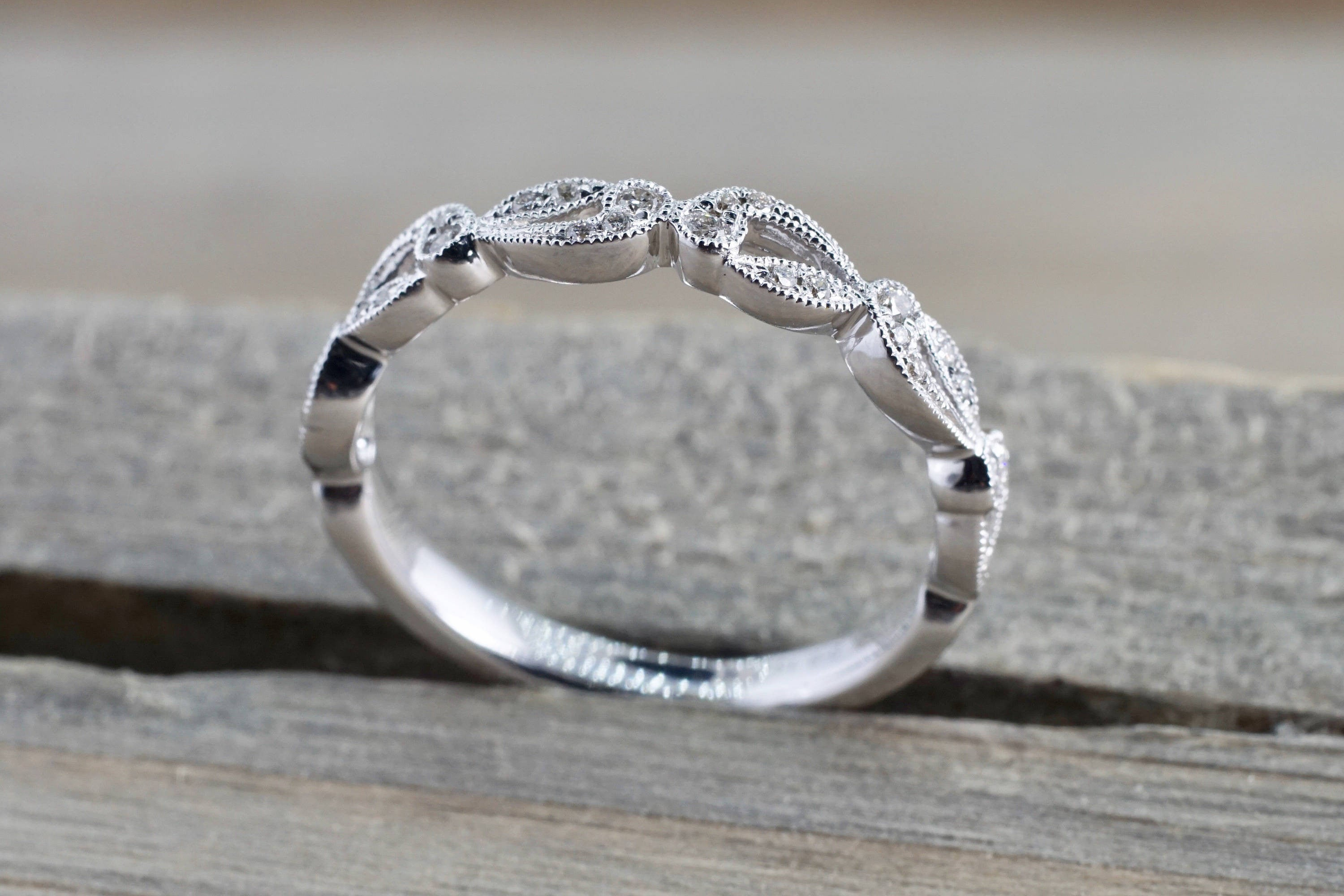 14k White Gold Diamond Milgrain Etched Floral Vintage Pave Ring - Brilliant Facets