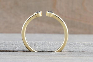 14k Gold Round Cut Diamond Bezel Open Cuff Ring RR010008