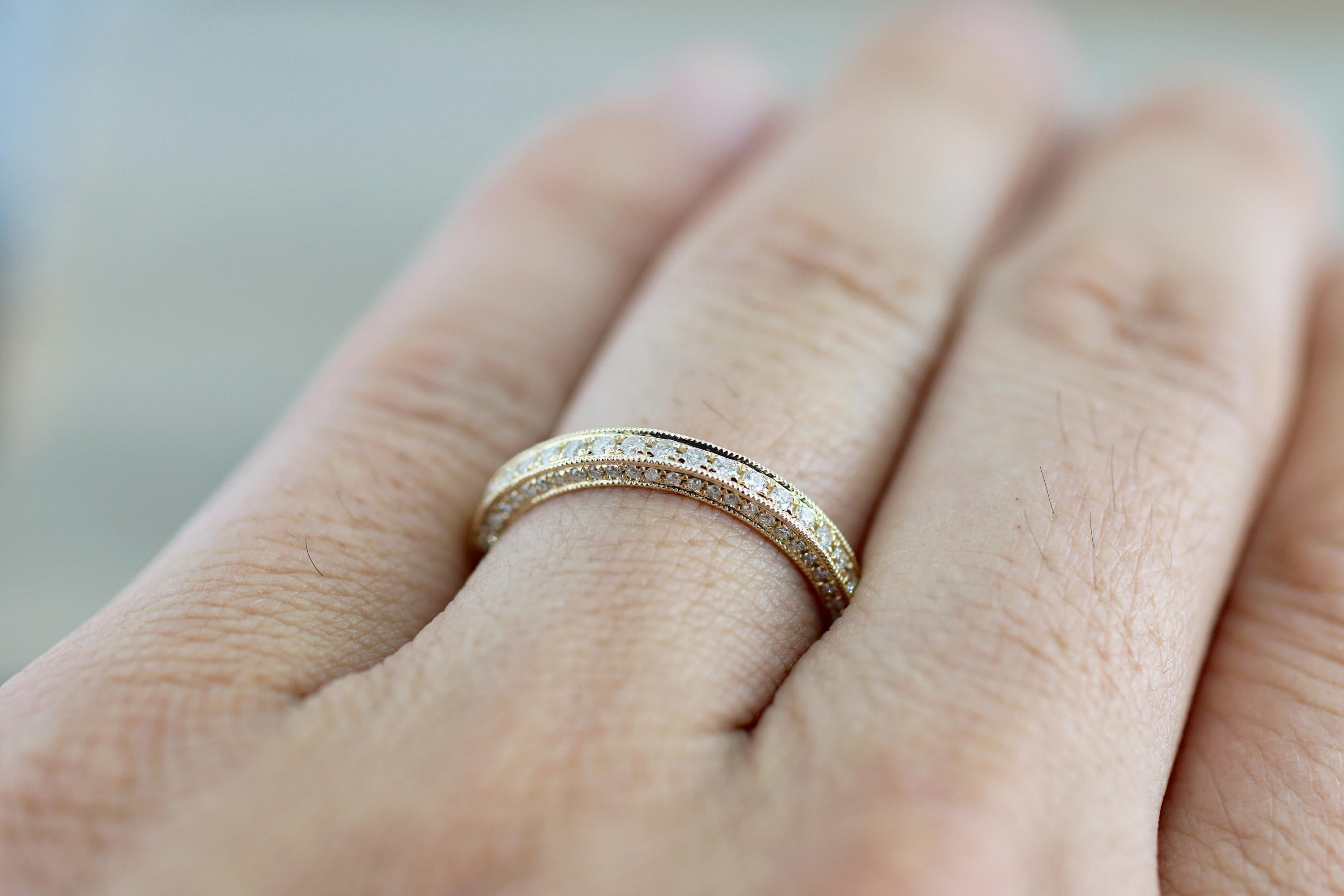 14k Yellow Gold Round Cut Diamond 3 Face Stackable Ring Band Wedding Promise Love