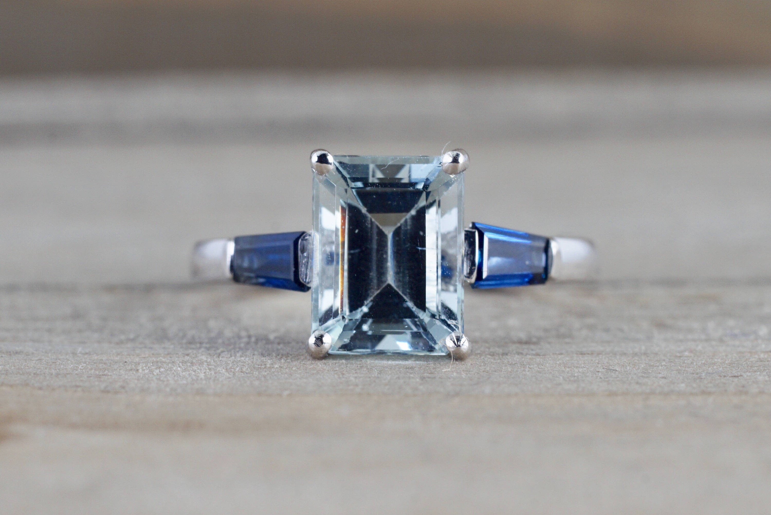 14k White gold Emerald Aquamarine with Blue Sapphire Baguette Future Past Present Engagement Ring