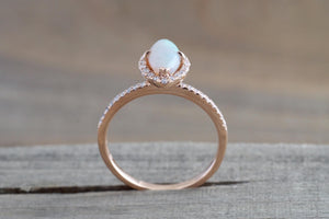 14k Rose Gold Marquise Fire Opal Diamond Halo Engagement Ring - Brilliant Facets