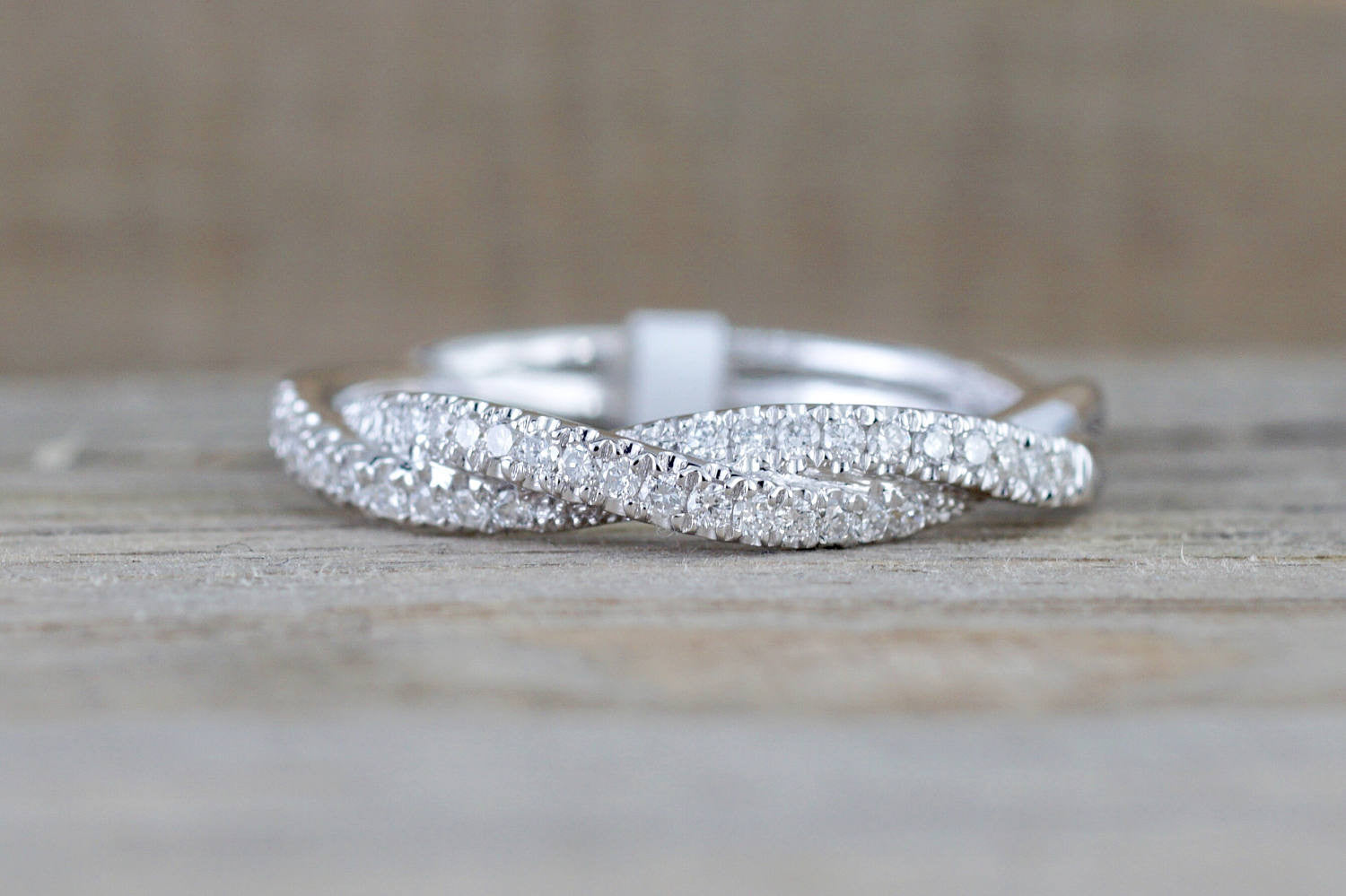 14k White Gold Diamond Pave Rope Twist Curve Stackable Ring Band - Brilliant Facets