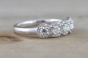 18k White Gold Diamond  Anniversary Halo Vintage Ring Antique Half Eternity Filigree Dainty Band 5