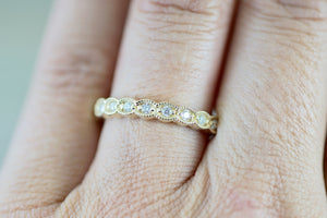 Dana 14k Yellow Gold Milgrain Etched Vintage Band Ring