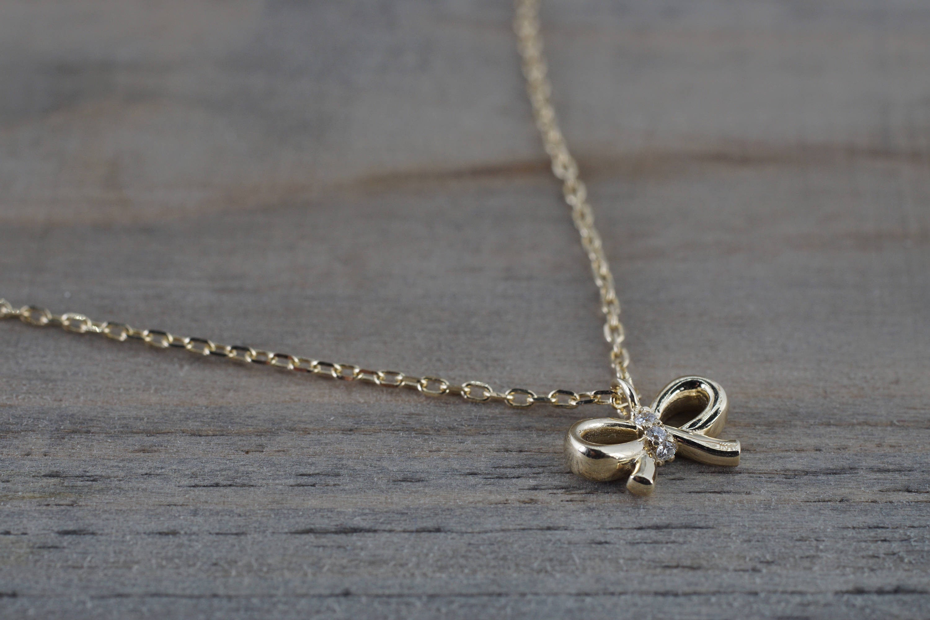 "14k Yellow Gold Diamond Dainty Bow Pendant Necklace with Chain 16"" 18"""