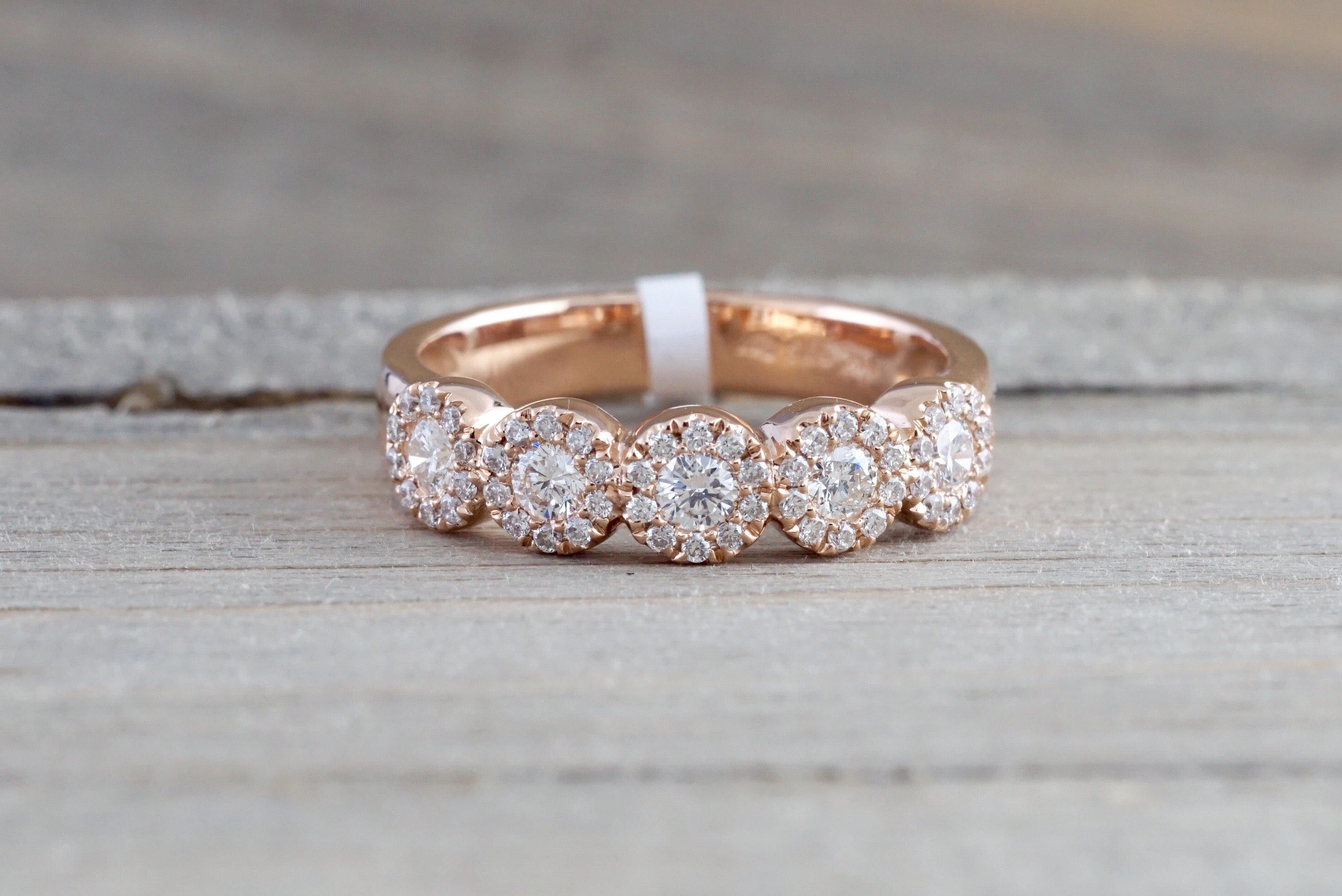 14k Rose Gold 5 diamond Anniversary Five Halo Band Ring Wedding Engagement - Brilliant Facets