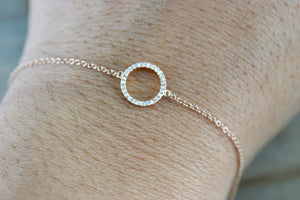 14k Solid Rose Open Circle Round Micro Pave Diamond Infinite Charm Bracelet - Brilliant Facets