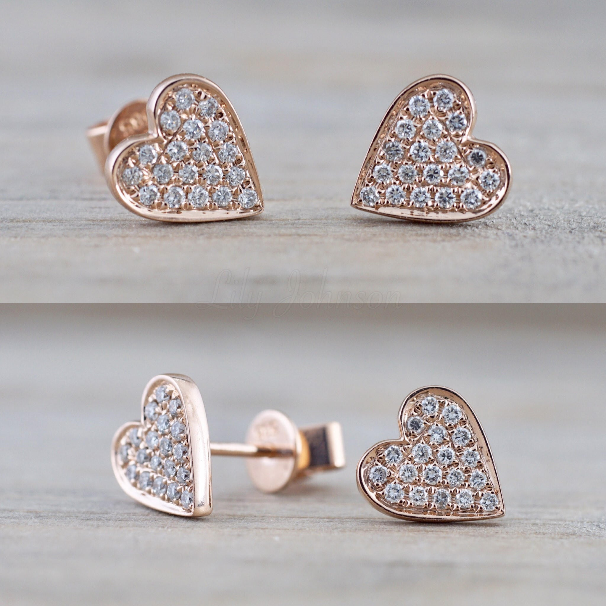 14k Rose Gold Disk Design Heart Diamond Earrings Stud Post Studs Round Micro Pave Flat - Brilliant Facets