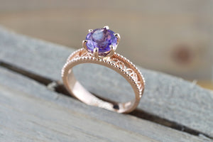 14k Rose Gold Round Purple Amethyst Ring Vintage Floral Milgrain Vines Ring - Brilliant Facets