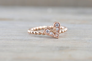 14k Rose Gold Diamond Heart Ring Bead Design Ring - Brilliant Facets