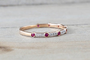 14k Rose Gold Round Cut Ruby Diamond Engagement Pave Promise Ring - Brilliant Facets