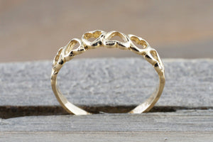 14k Yellow Gold Open Heart Band Ring