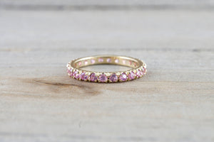 14k Yellow Gold Purple Pink Peach Sapphire Dainty Thin Full Eternity Band Wedding Anniversary Engagement Promise Stackable Ring