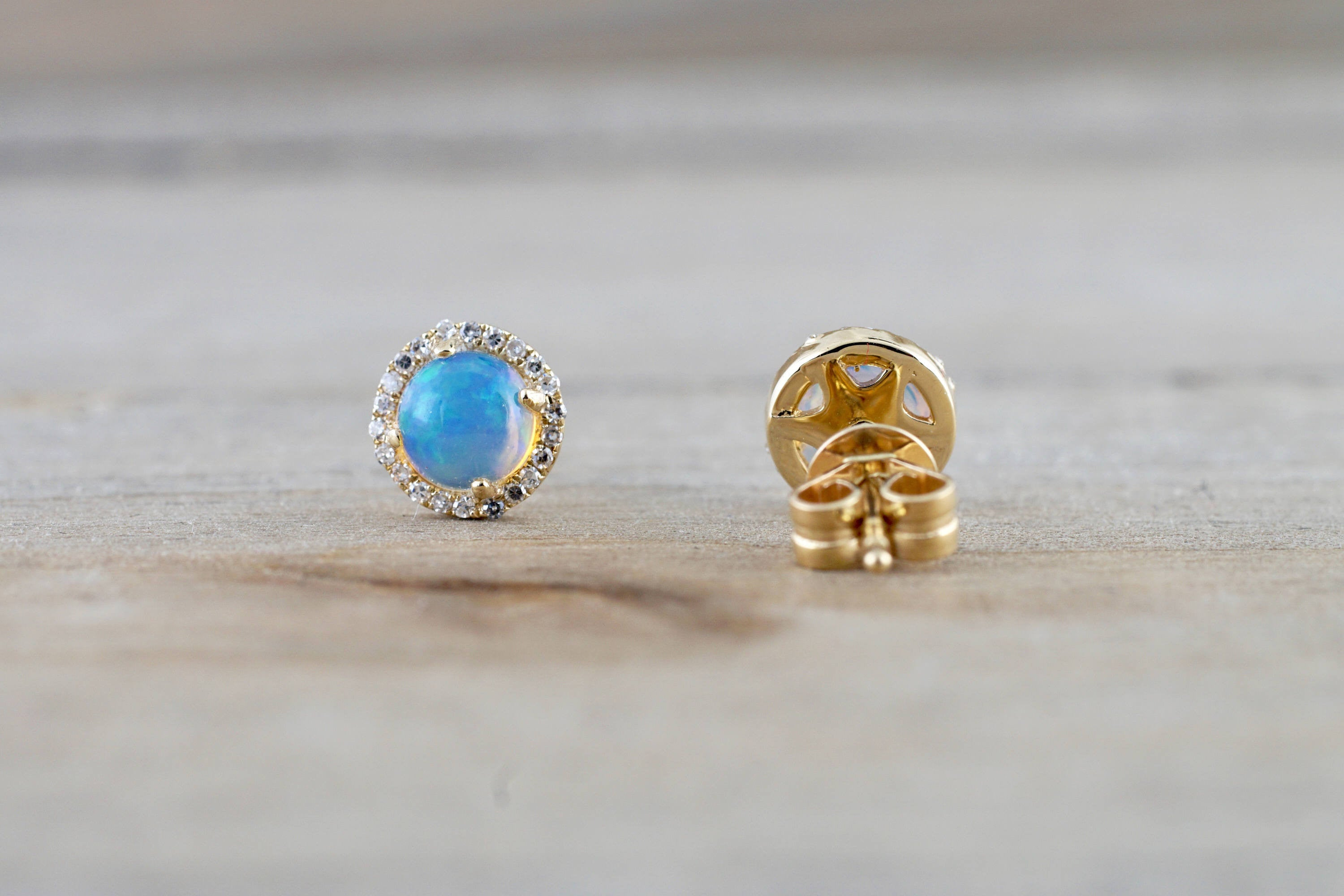 14k Yellow Gold Round Opal Diamond Halo Earrings Studs