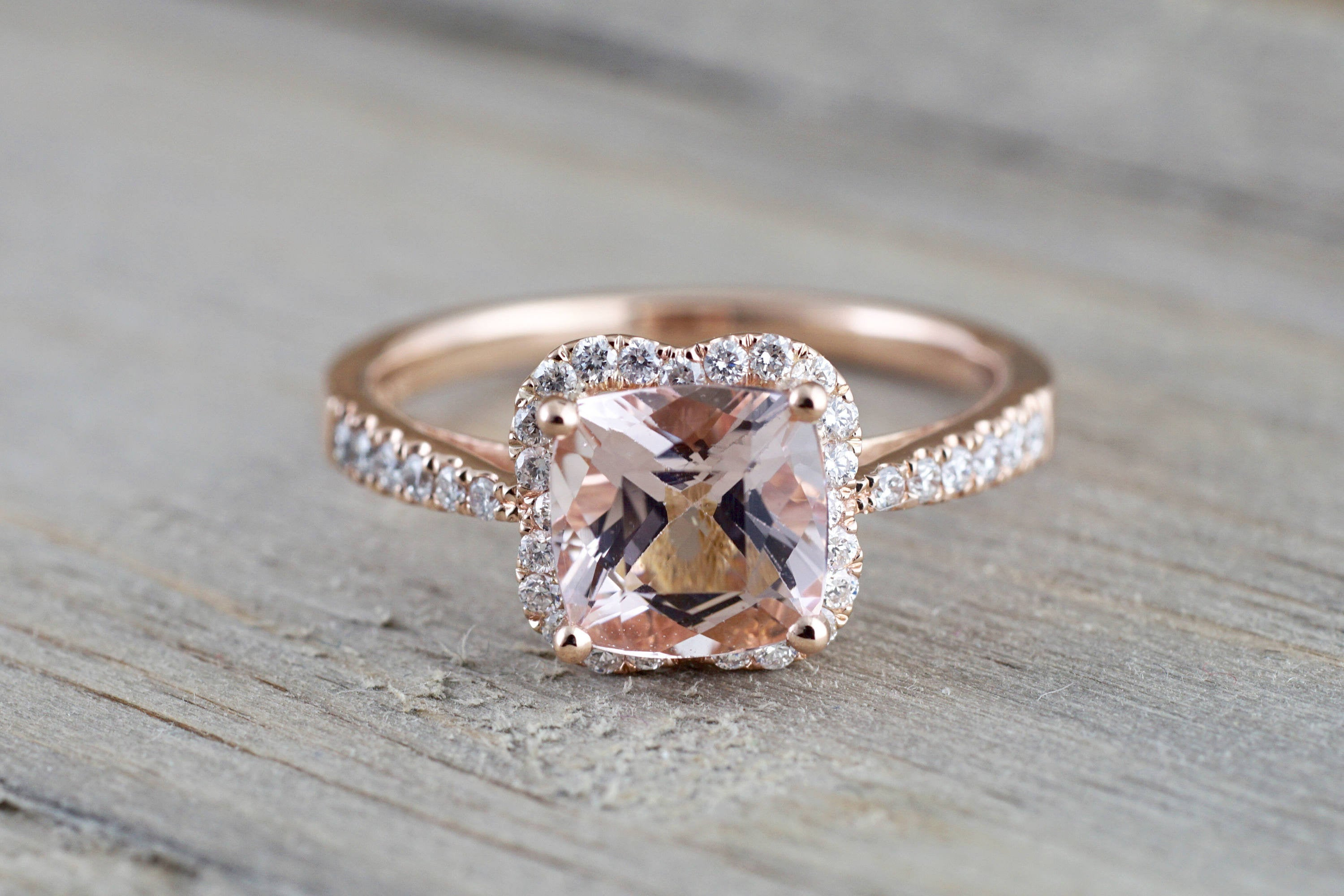 14k Rose Gold Morganite Flower Clover Diamond Halo Engagement Promise Ring Pink Peach - Brilliant Facets