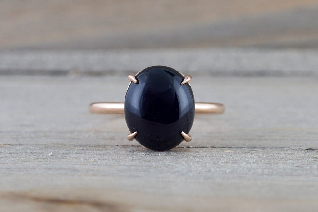 14k Rose Gold Oval Black Spinel Onyx Prong Engagement Promise Ring Rope Bead Vintage Classic  10x12 - Brilliant Facets