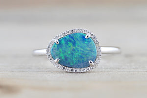 Island 14k White Gold Round Opal Diamond Halo Art Deco Ring