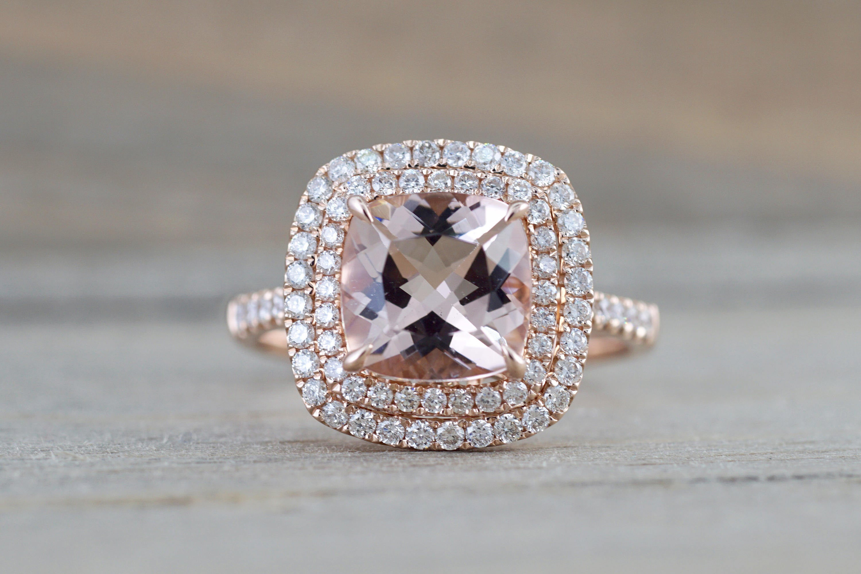 14k Rose Gold Cushion Pink Morganite Diamond Double Halo Engagement Ring - Brilliant Facets
