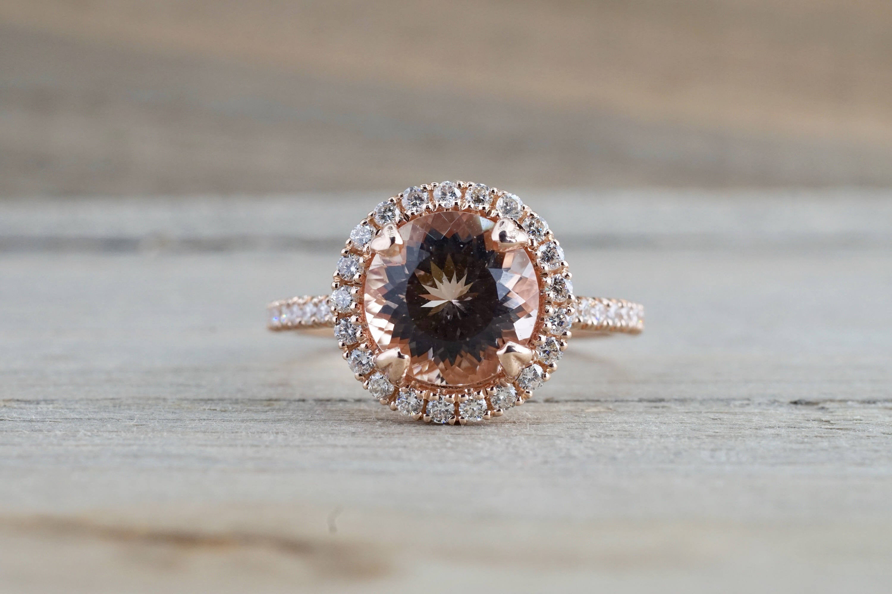 14k Rose Gold Round Peach Pink Morganite Diamond Halo Engagement Anniversary Ring - Brilliant Facets